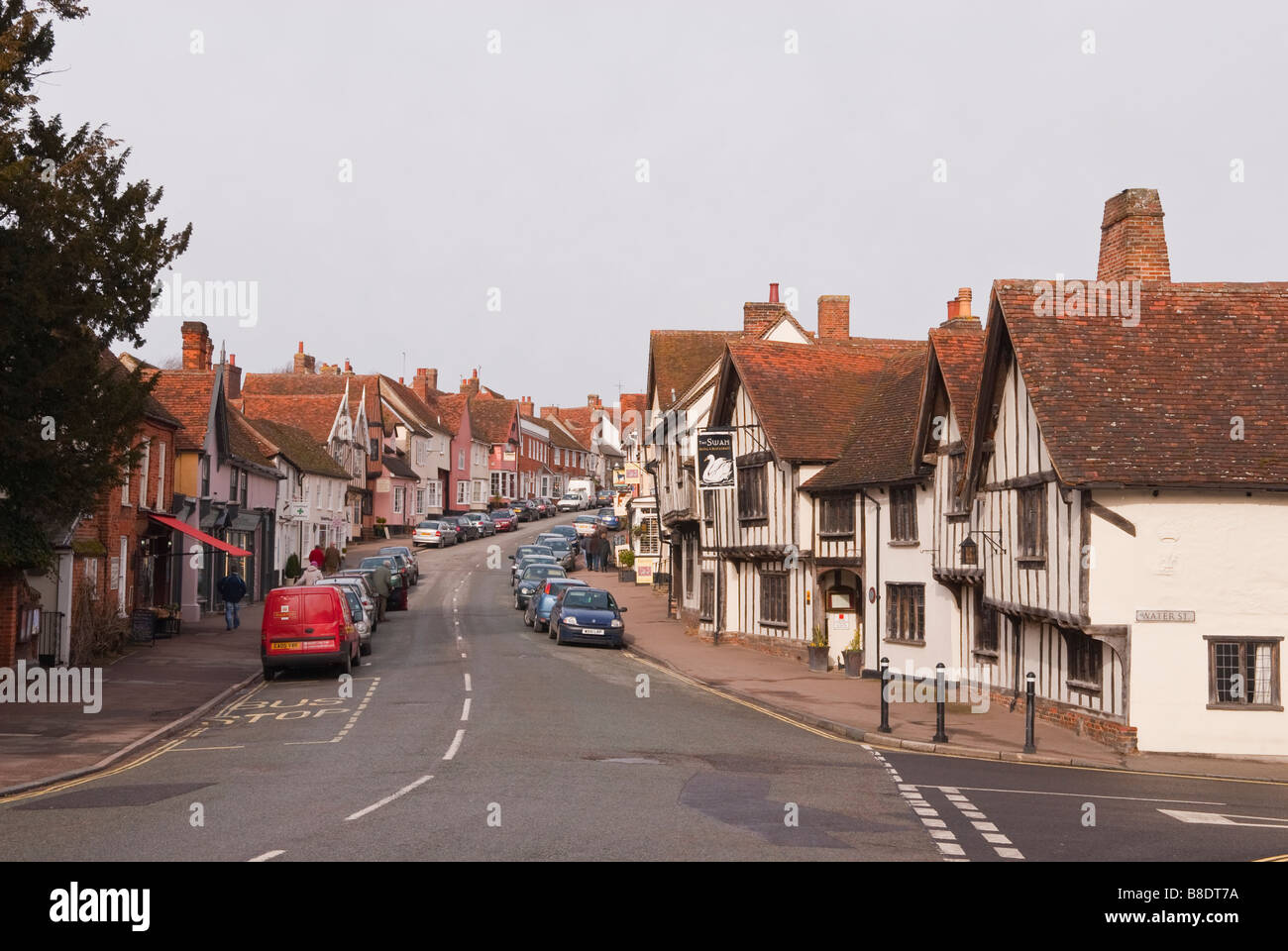 A view up the high street in Lavenham,Suffolk,Uk - Stock Image