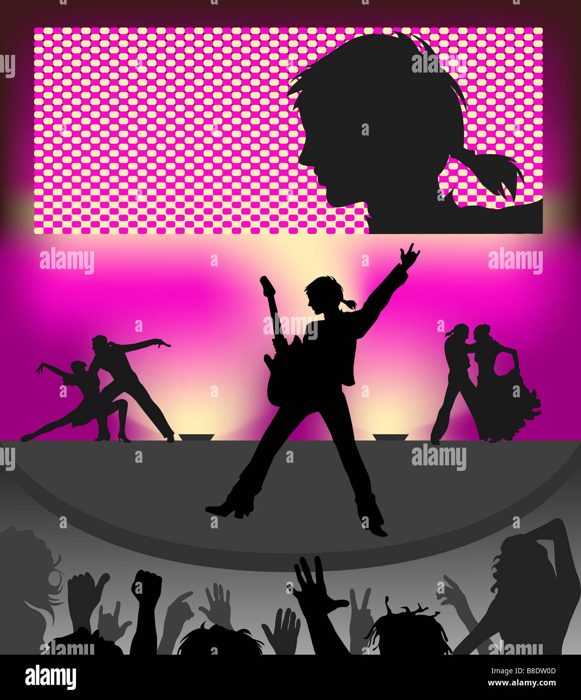 Silhouettes of public and musicians of a popular concert. - Stock Image
