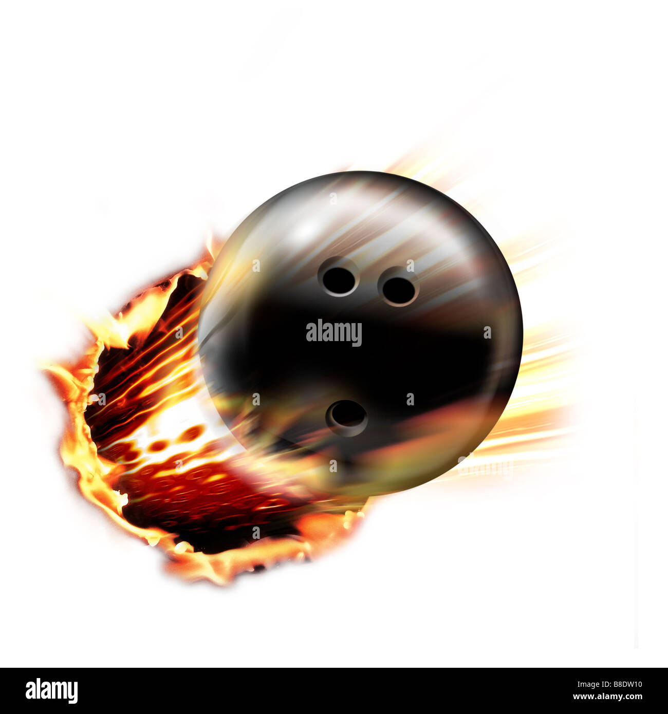 Bowling ball through circle of fire - Stock Image
