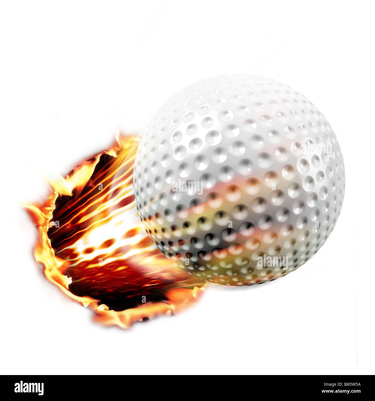 Golf ball shot through fire - Stock Image