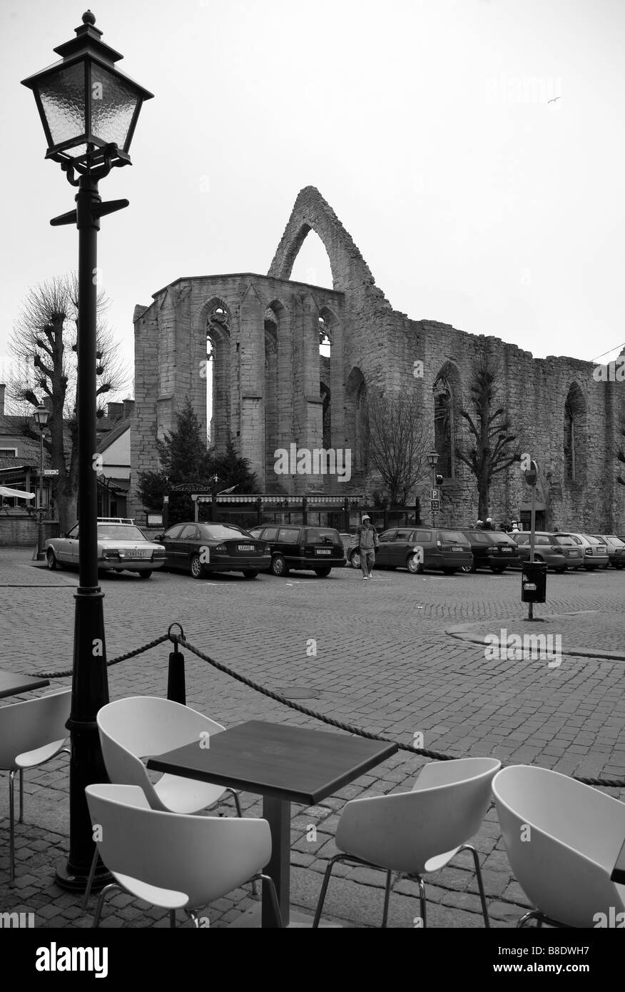 Old church ruins in in Visby, Gotland, Sweden - Stock Image