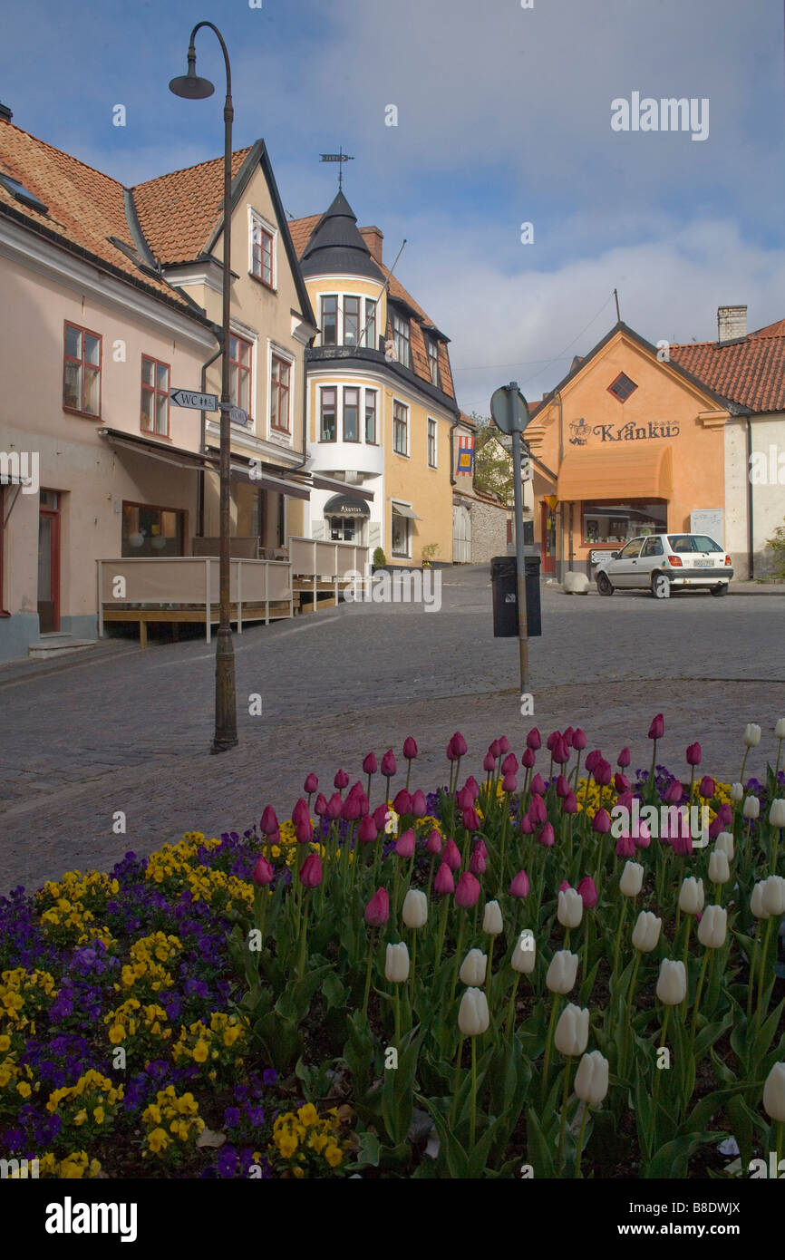 Flowers in Visby, Gotland, Sweden - Stock Image