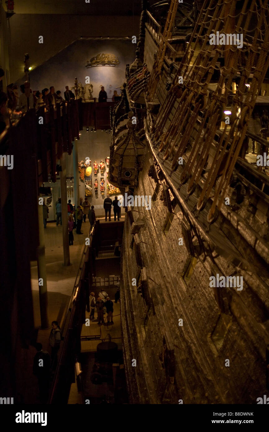 Vasa - Swedish shipwreck after restauration at the museum in Stockholm, Sweden - Stock Image