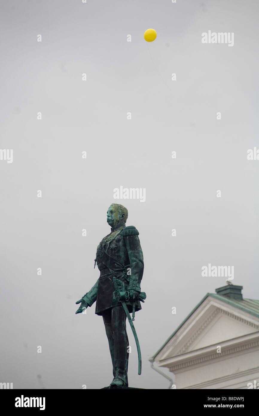 King Gustav i monument in Helsinki, Finland - Stock Image