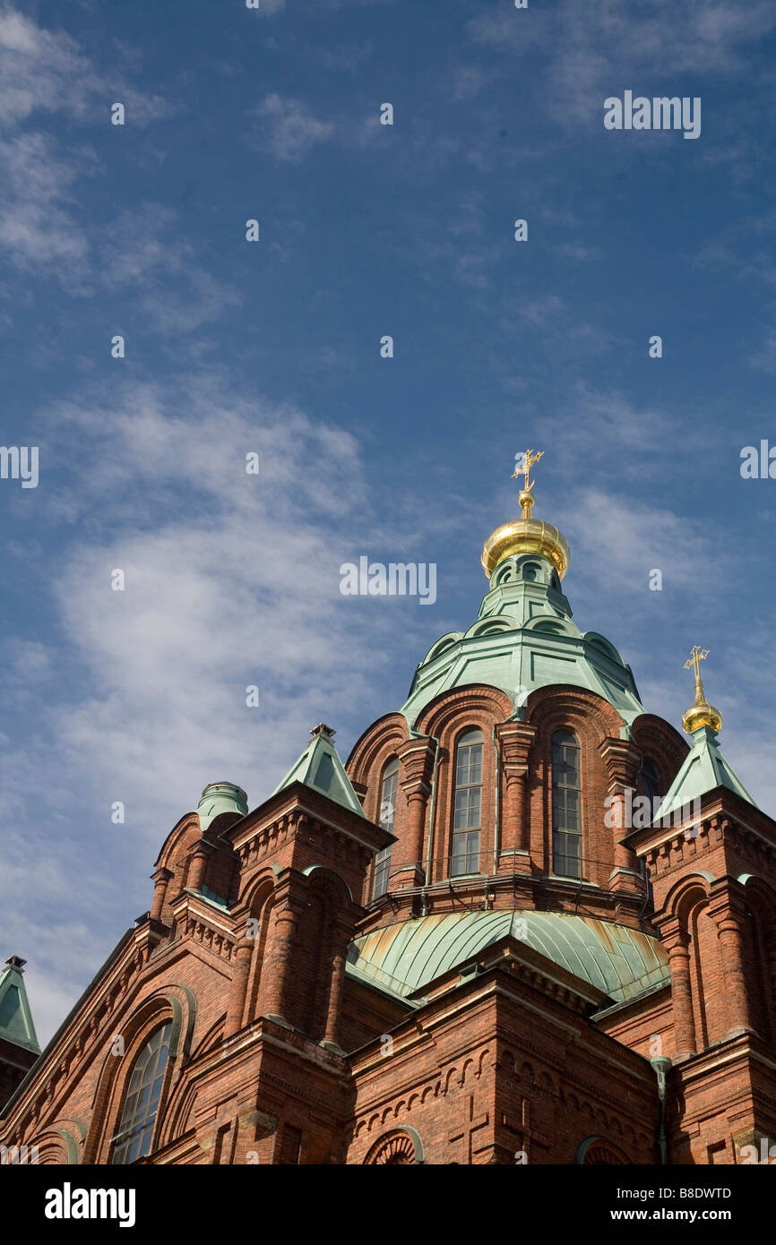 Uspensky Cathedral standing on the hill in Helsinki the capital of Finland - Stock Image