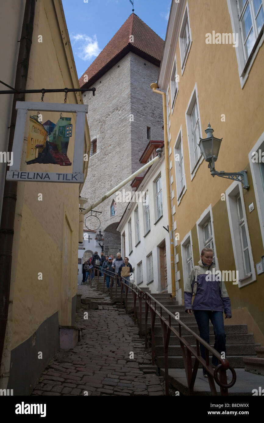 Narrow and steep street at the Old Town in Tallin the capital of Estonia - Stock Image