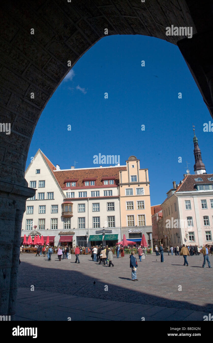 Beer gardens at the Old Town in Tallin the capital of Estonia - Stock Image