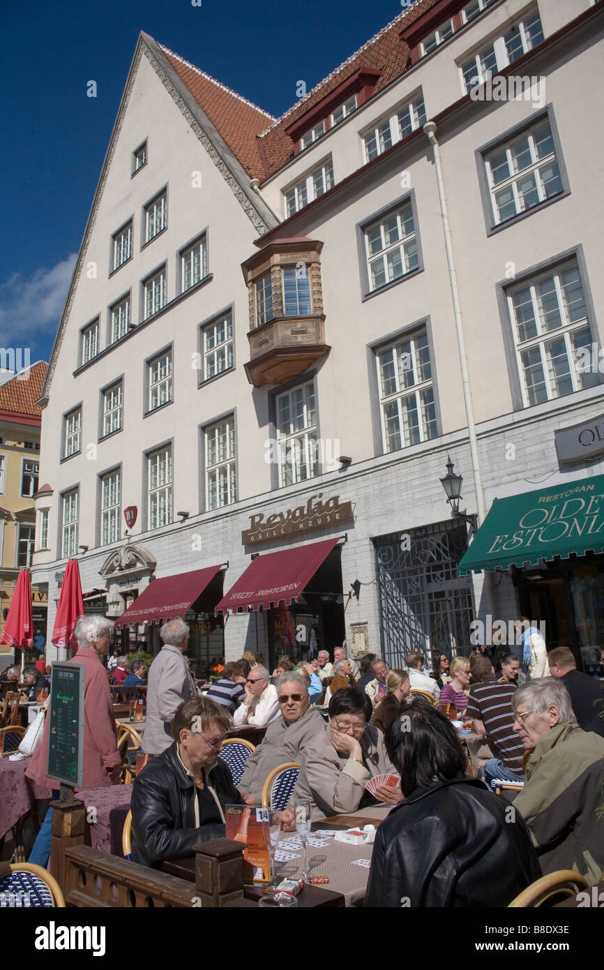 Drinking beer at the Old Town in Tallin the capital of Estonia - Stock Image