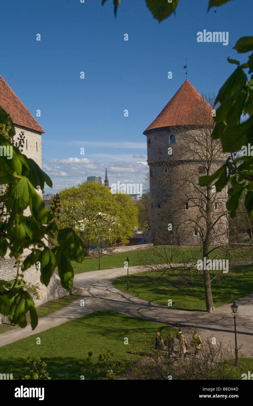 City walls surrounding Old Town in Tallin the capital of Estonia - Stock Image