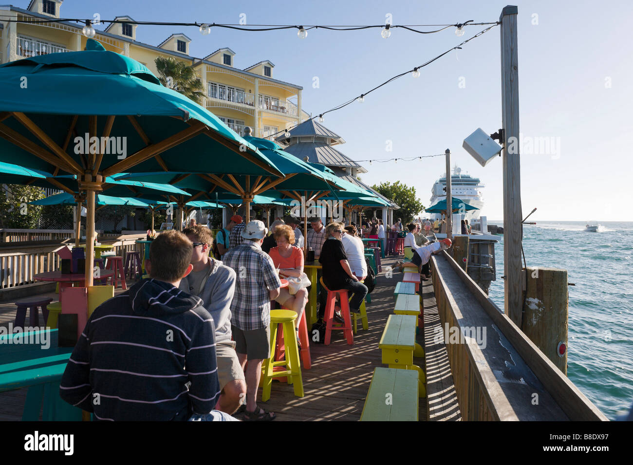 Sunset Pier bar and restaurant in the late afternoon, Ocean Key Resort, Old Town, Key West, Florida Keys, USA Stock Photo