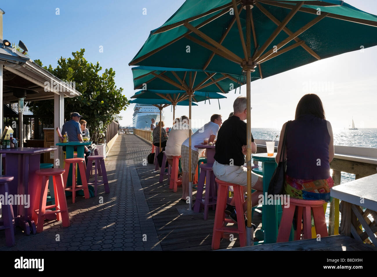 Sunset Pier bar and restaurant in the late afternoon, Ocean Key Resort, Old Town, Key West, Florida Keys, USA - Stock Image