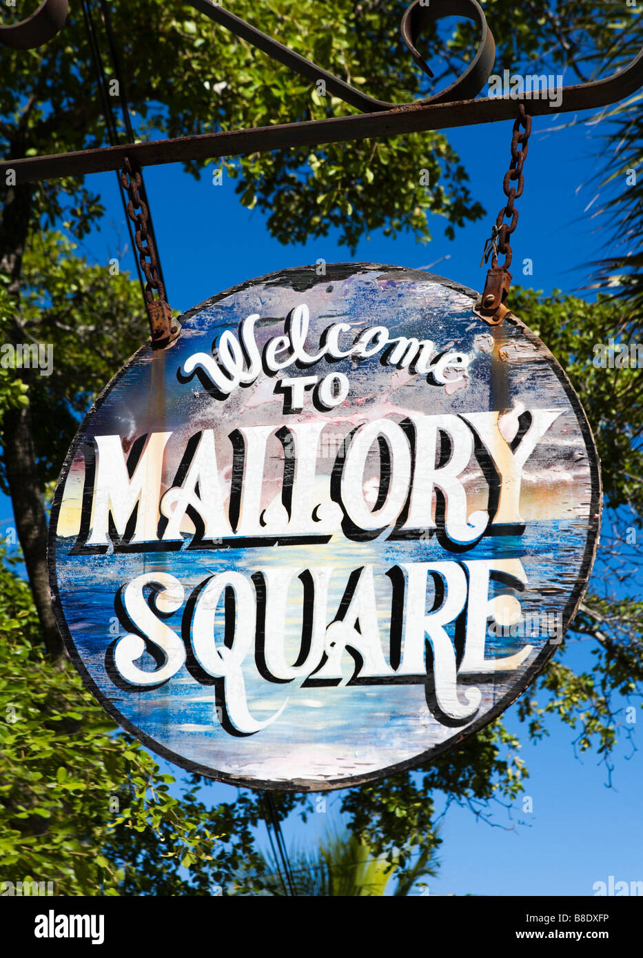 Welcome to Mallory Square hanging sign, Old Town, Key West, Florida Keys, USA - Stock Image