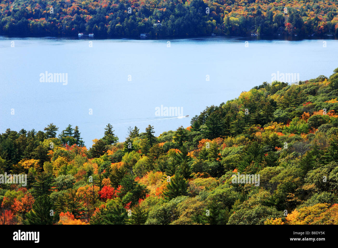 Scenic view of cottage country in Lake of Bays in eastern Ontario Canada Stock Photo