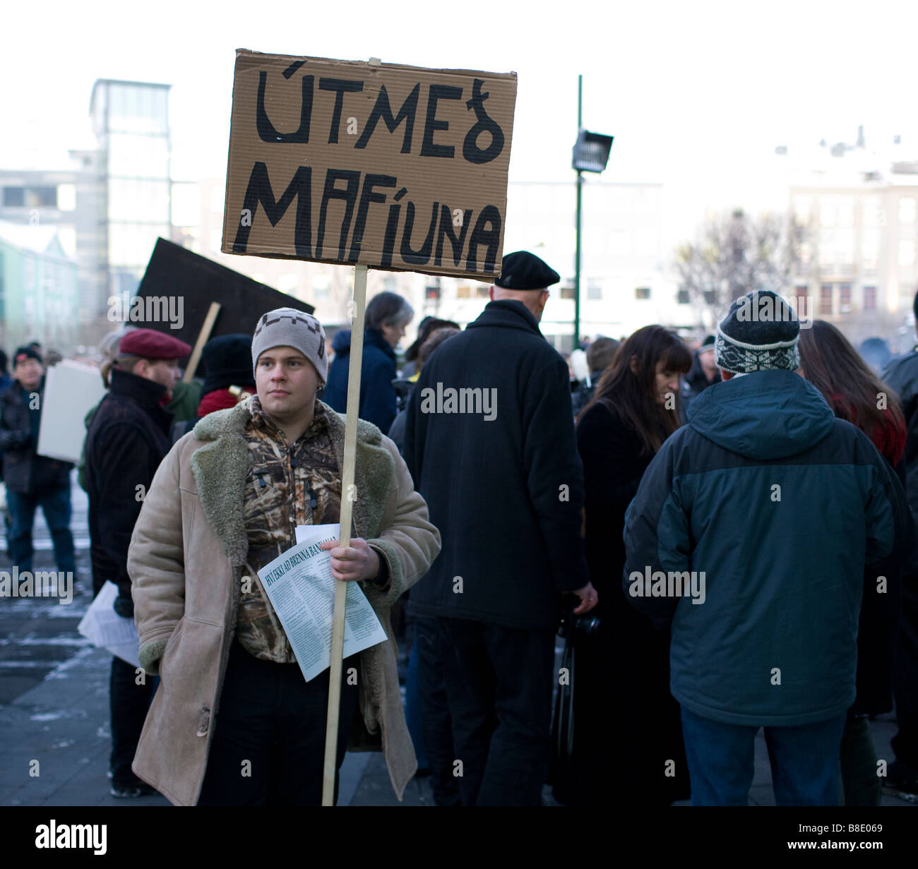 Demonstrations against banking system and Government, Reykjavik Iceland - Stock Image