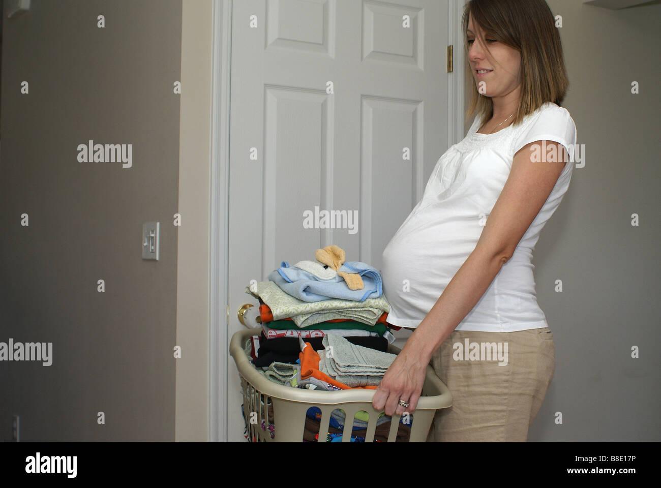 Heavy Laundry Basket - Stock Image