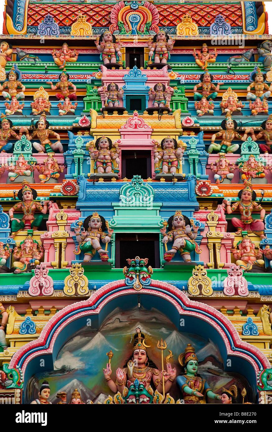Hindu gods temple figures religion indian singapore gods - Stock Image