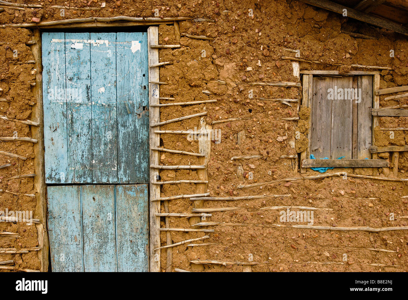 Wattle and daub house casa de pau a pique Rural area of Cabrobó city Pernambuco State countryside Brazil - Stock Image