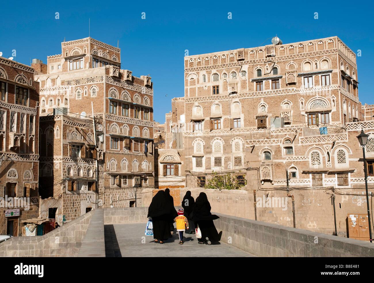 sanaa old town city yemen traditional architecture arabic - Stock Image