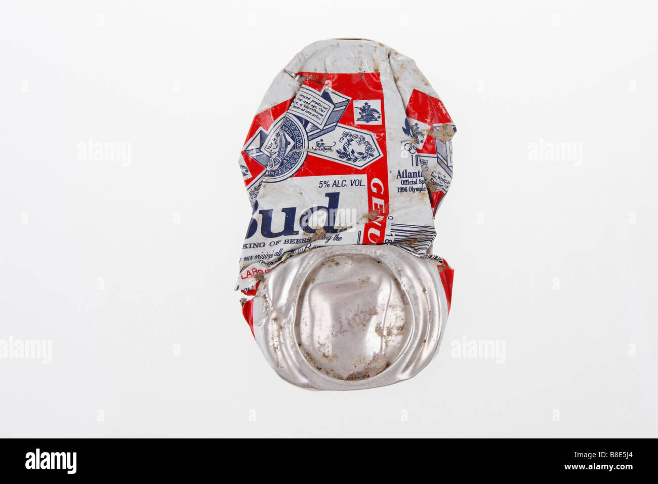 clip image flattened beer aluminium can brand budweiser company anheuser busch usa editorial use only - Stock Image