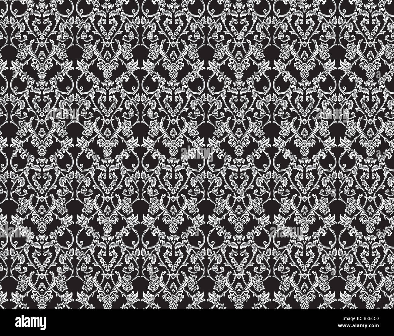 Seamless victorian floral background Big XXL size - Stock Image