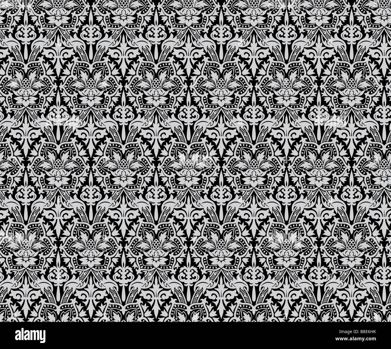 Seamless ancient damask pattern Big XXL size - Stock Image
