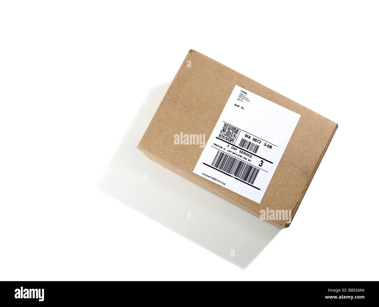 Labeled Shipping Box - Stock Image