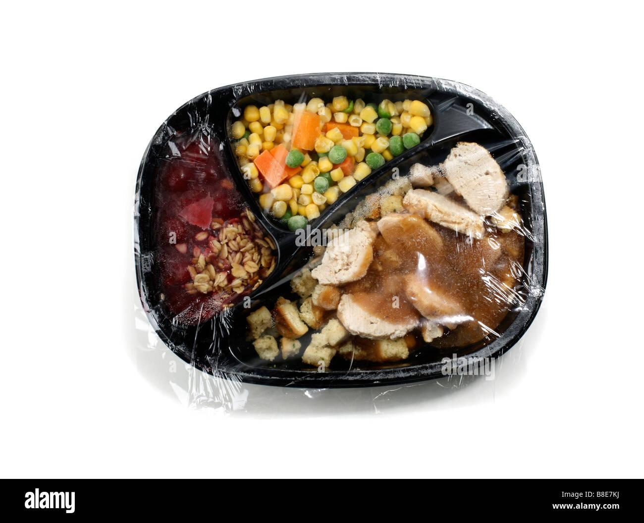 Wrapped Frozen turkey Dinner - Stock Image