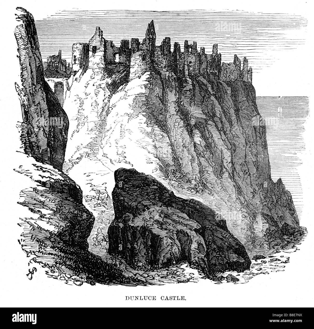 Dunluce Castle 1874 engraving of the medieval ruined castle on the Antrim basalt cliffs - Stock Image