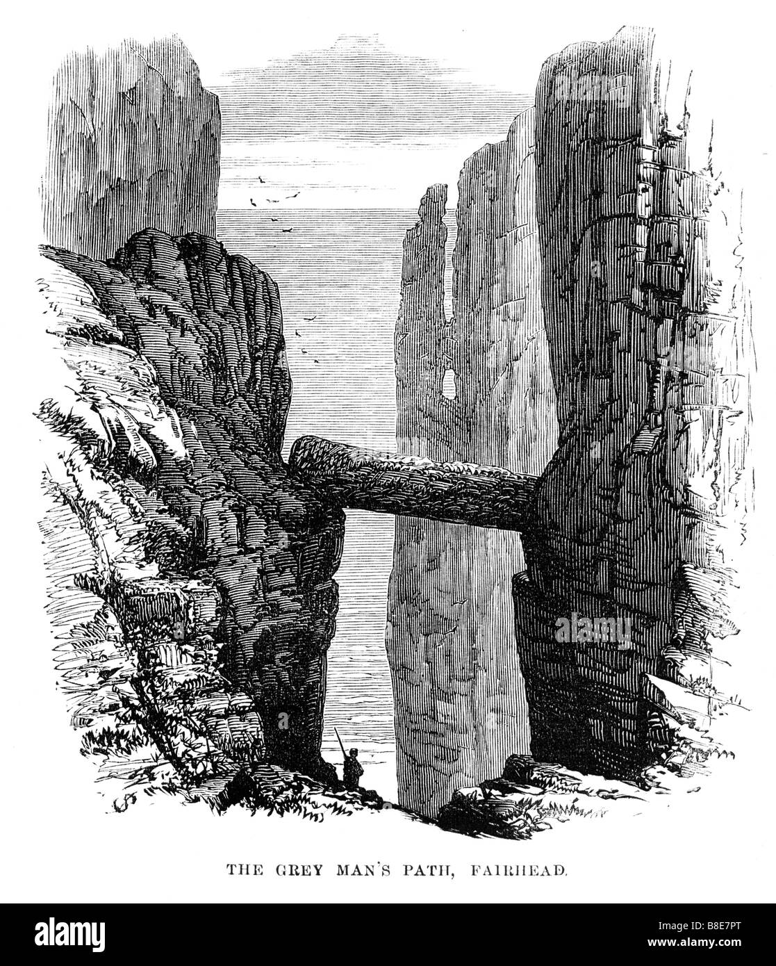Grey Mans Path Fair Head 1874 engraving of the cliffs on the North coast of Ireland - Stock Image