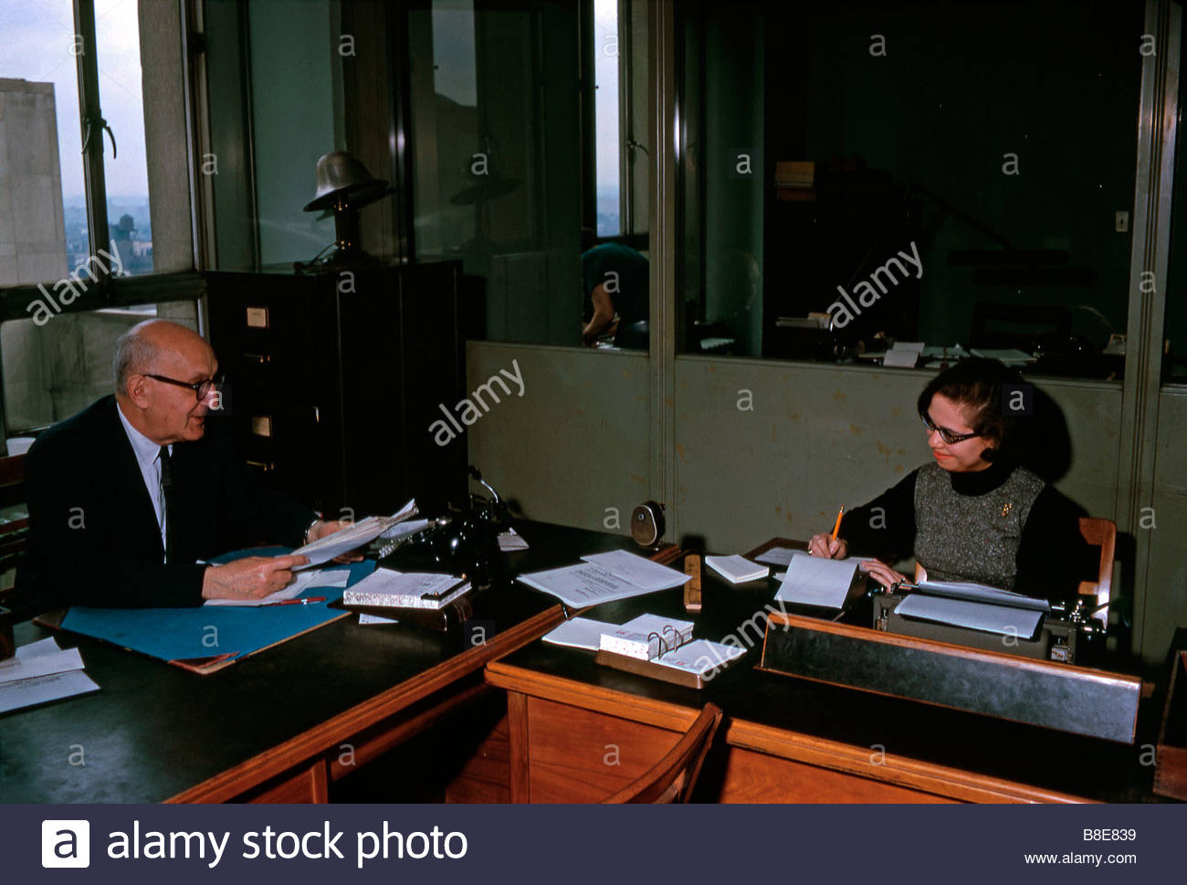 Office workers, New York, 1963 - Stock Image