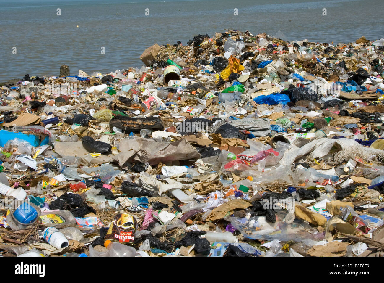 Human Waste on the Senegal River in St Louis in Senegal Africa - Stock Image