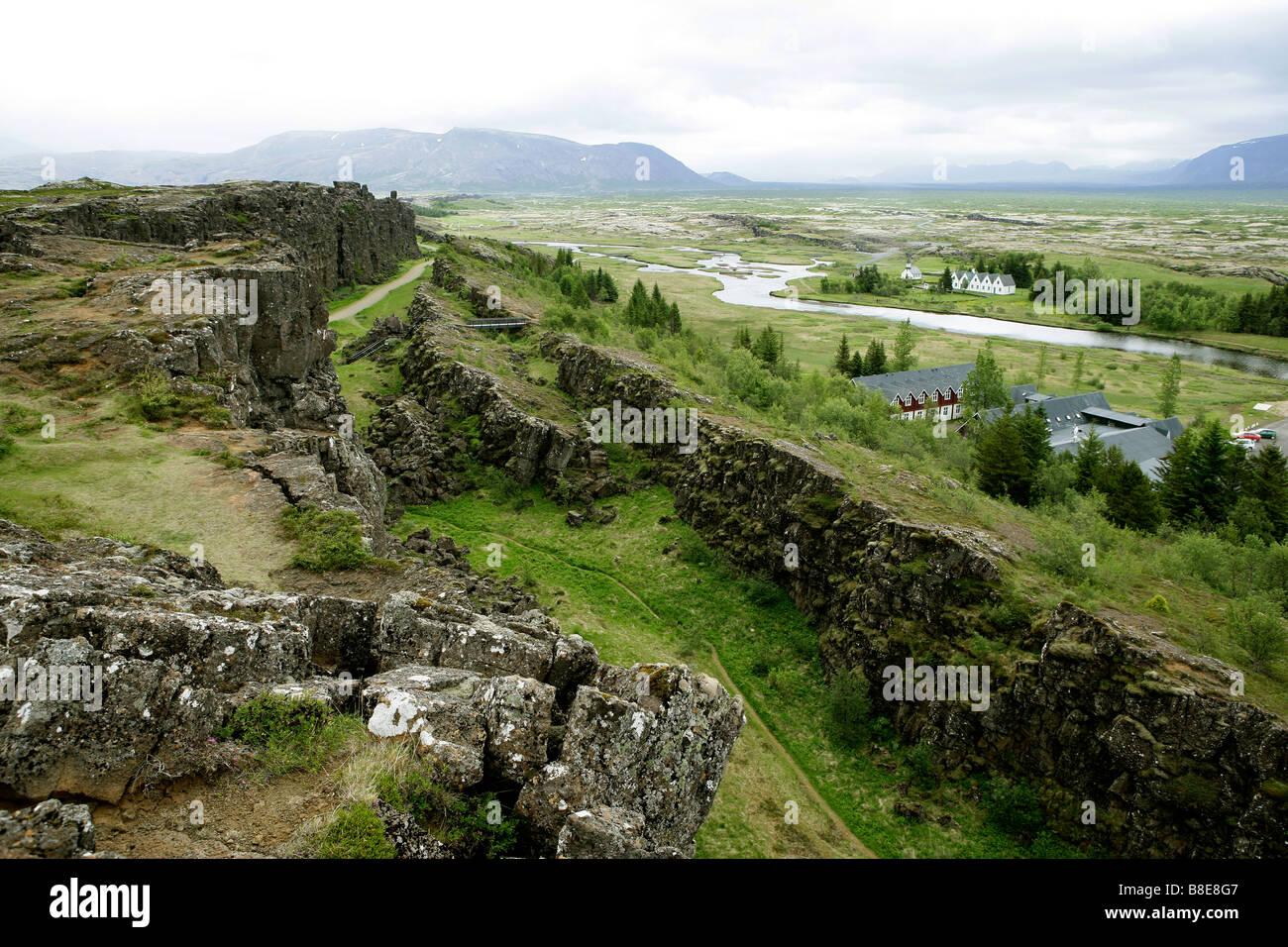 Almannagja fissure, Mid-Atlantic Ridge, Thingvellir National Park, Iceland - Stock Image