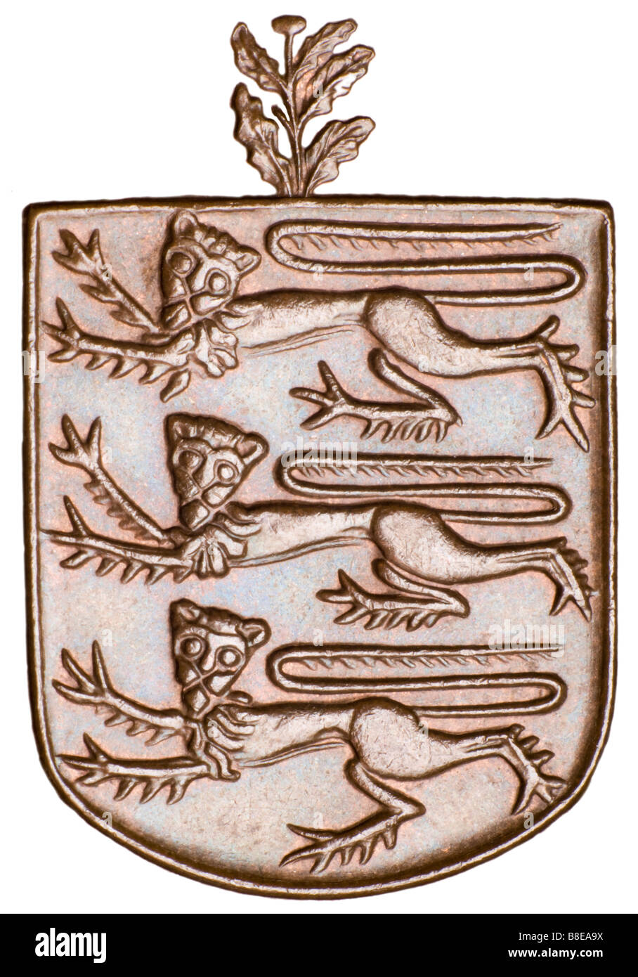 Guernsey Coat of Arms, from 8 Doubles coin of 1956 - Stock Image