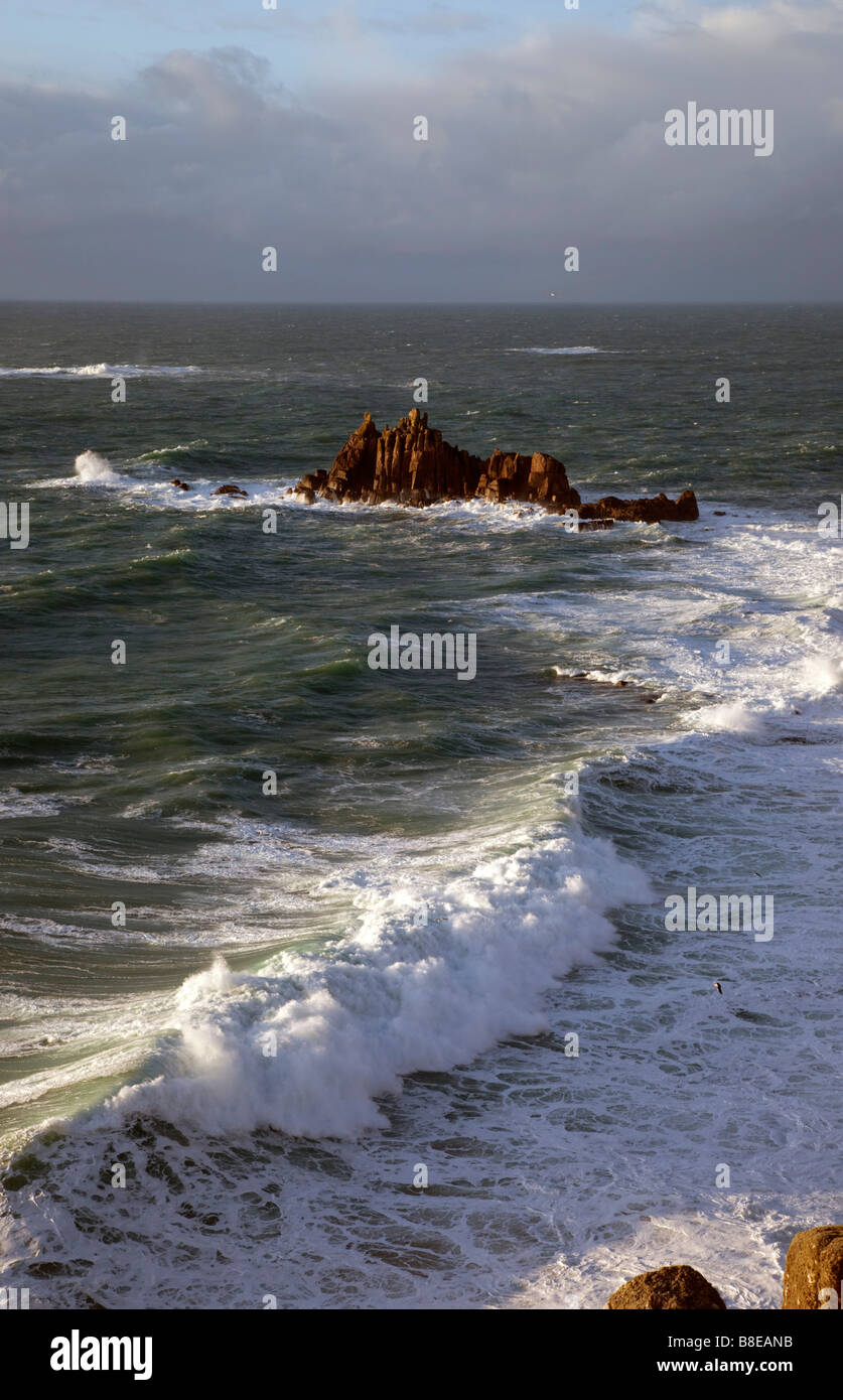 rocks off lands end cornwall - Stock Image