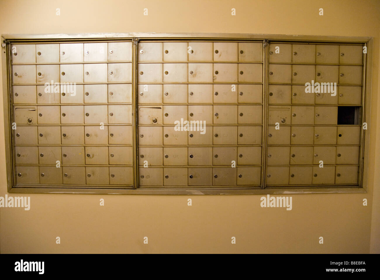 Mailboxes in an apartment building. Stock Photo