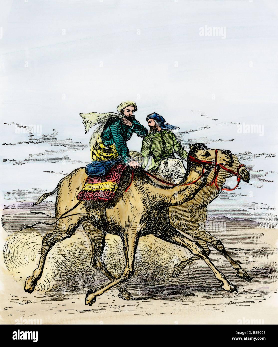 The Hegira: Muhammad traveling to Medina to establish Islam 622 AD. Hand-colored woodcut - Stock Image