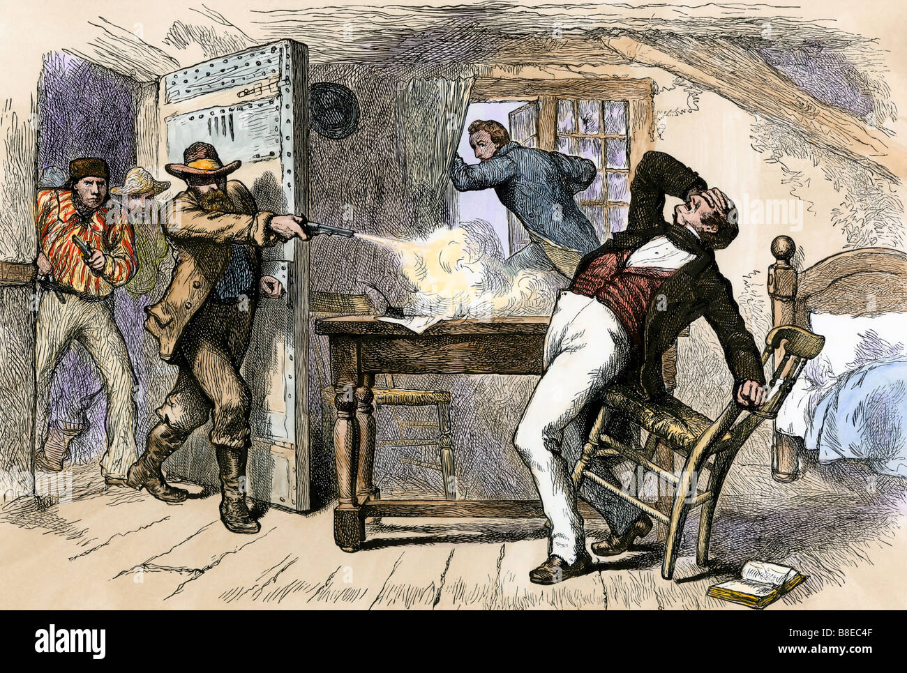 Murder of Mormon leaders Joseph and Hyrum Smith by a mob in jail in Carthage Illinois 1844. Hand-colored woodcut Stock Photo