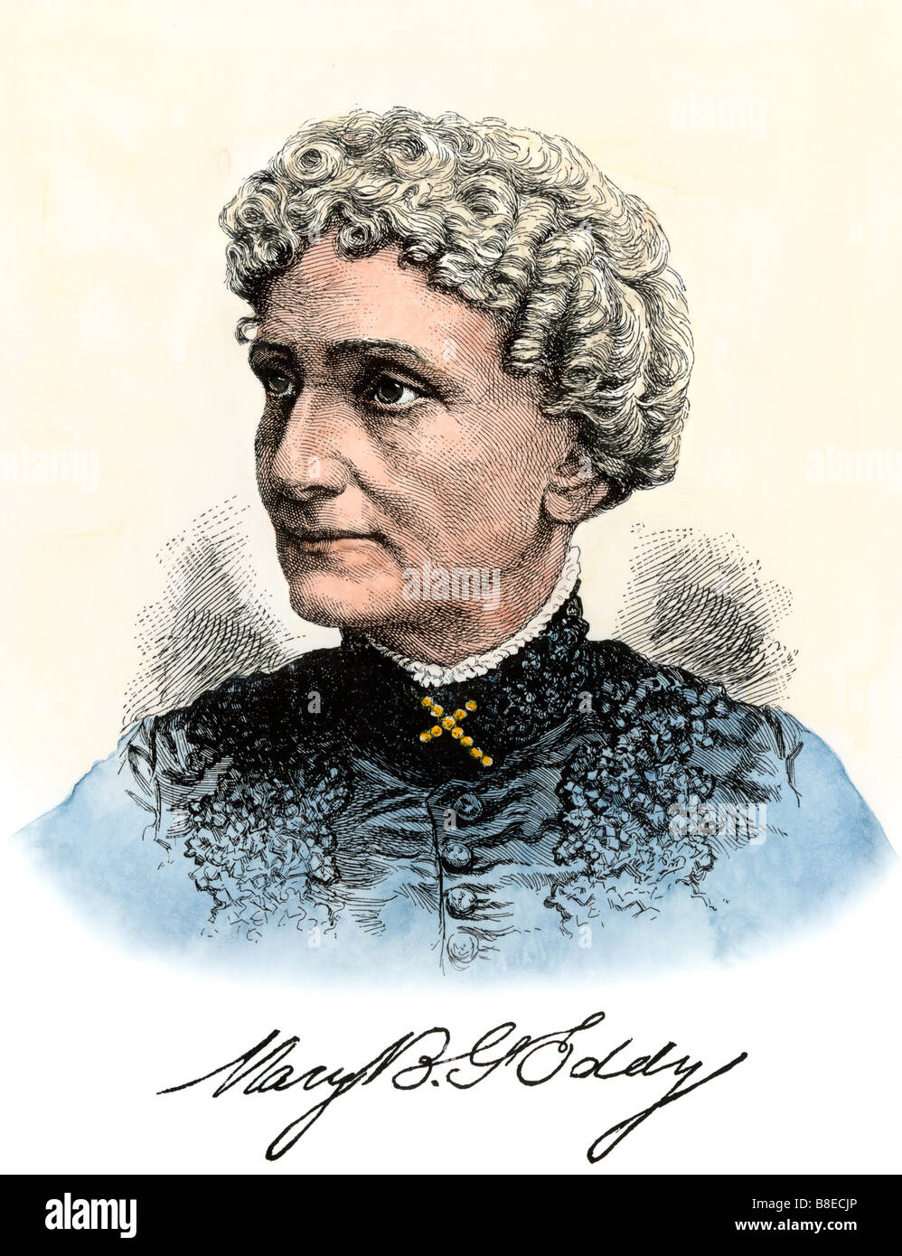 Mary Baker Eddy founder of Christian Science Church with her signature. Hand-colored woodcut - Stock Image
