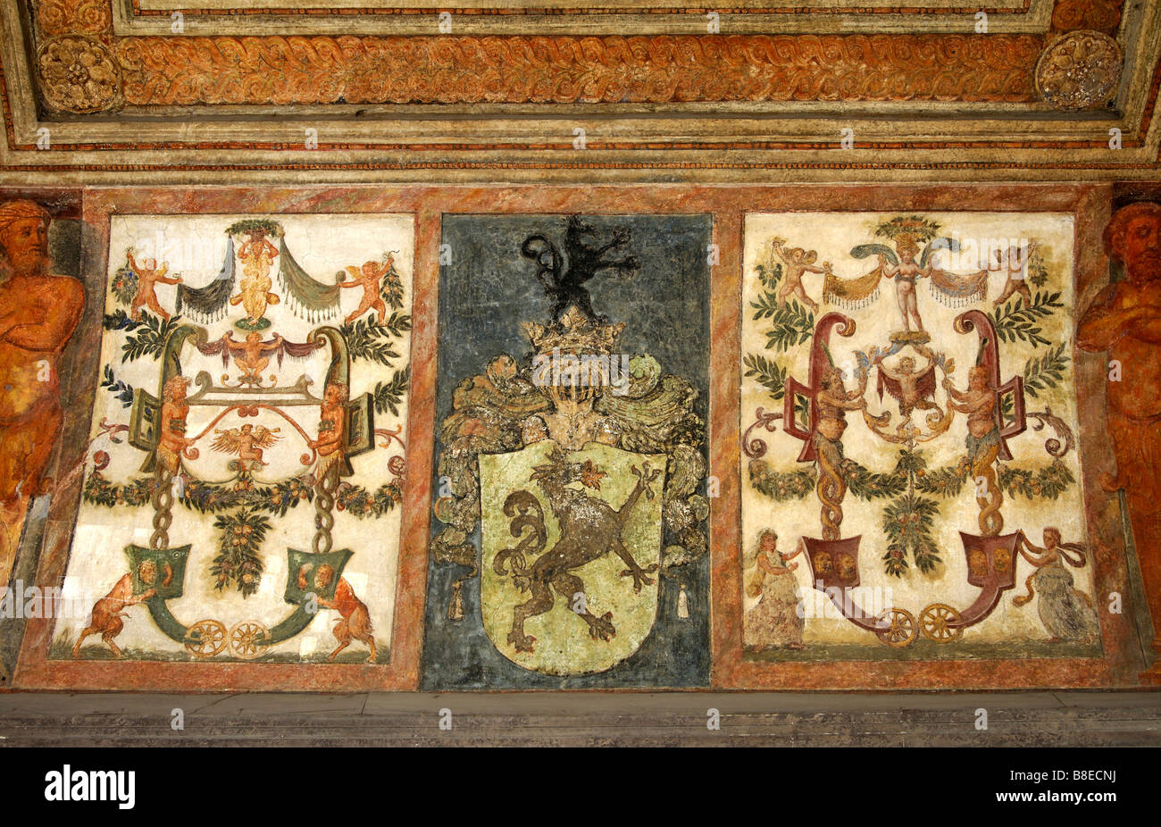 Coat of arms in the inner part of the Swiss Gate portal, Hofburg Imperial Palace, Vienna, Austria - Stock Image