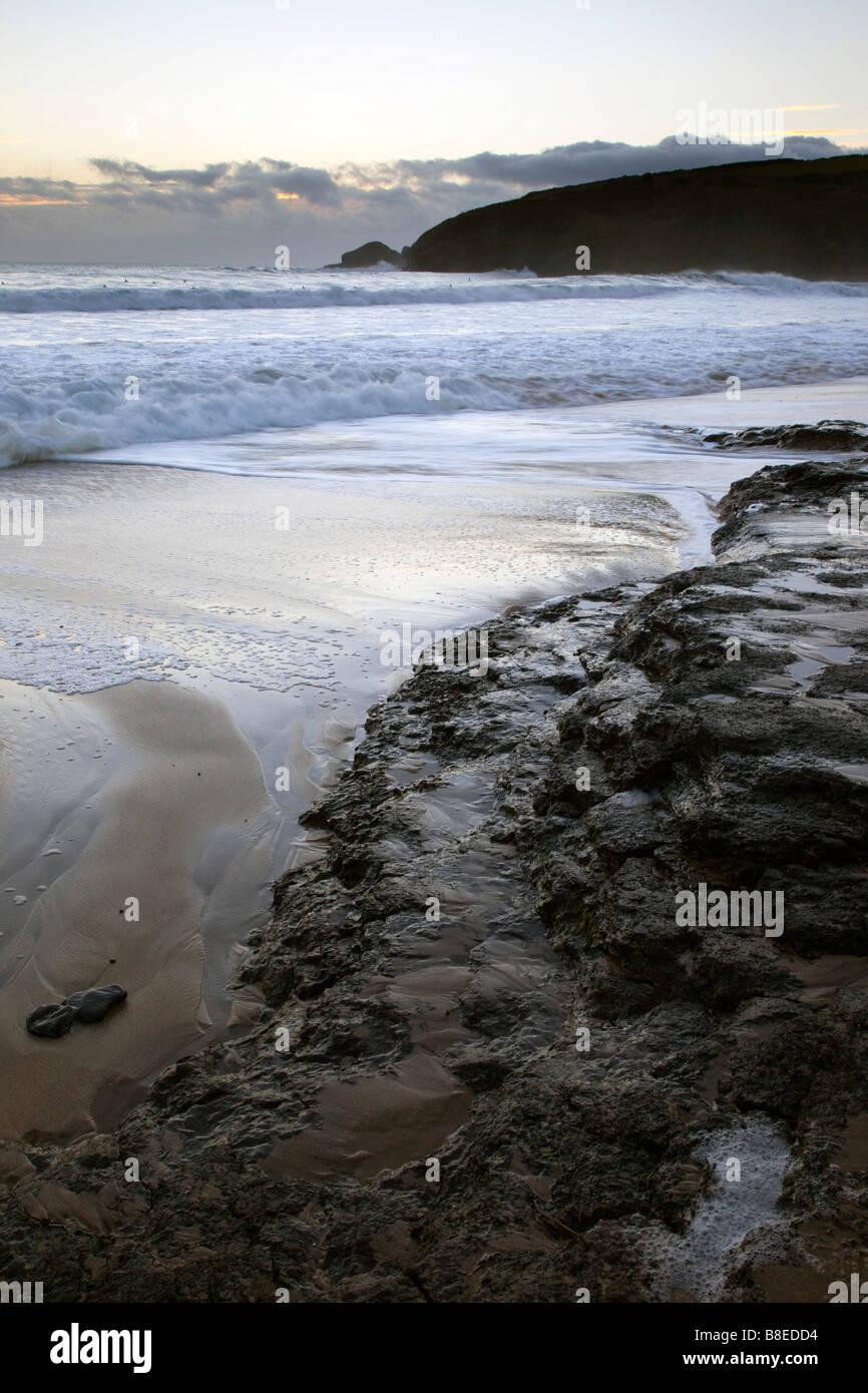 praa sands at sunset cornwall - Stock Image