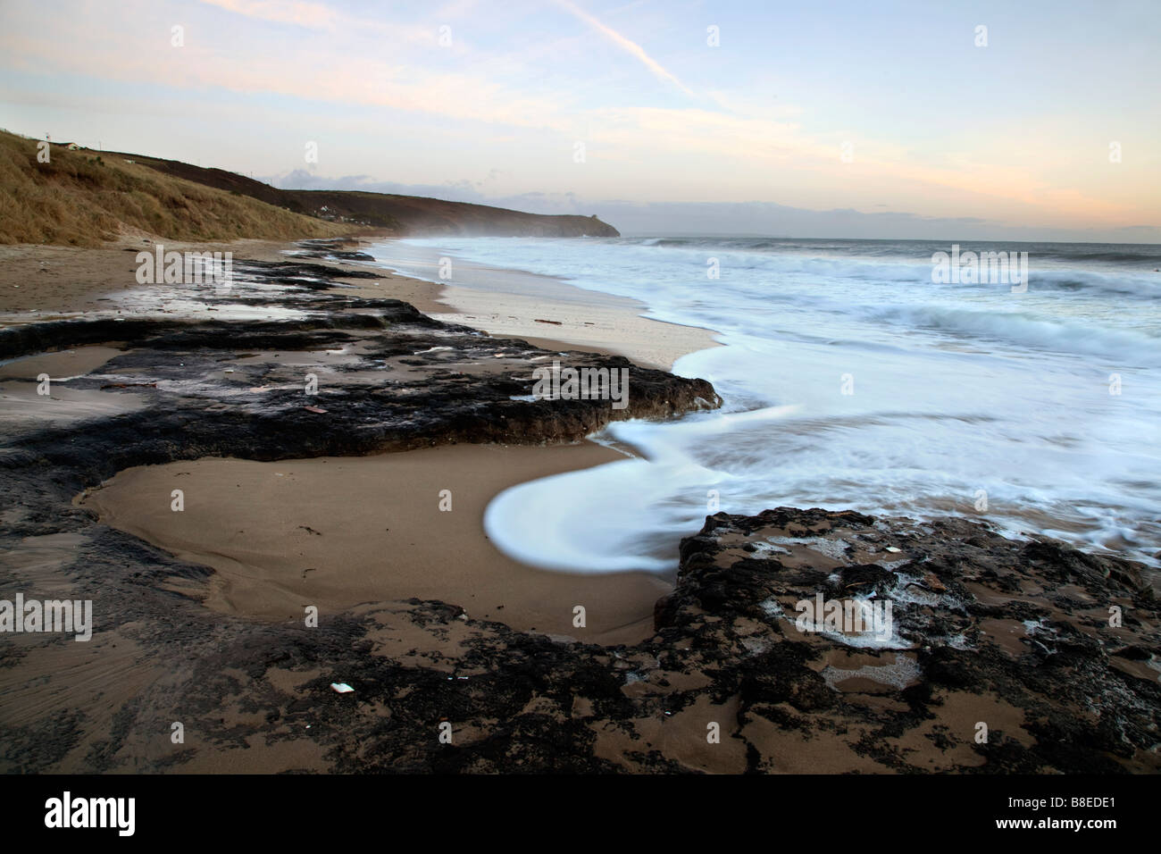 fossil forest at praa sands beach cornwall - Stock Image