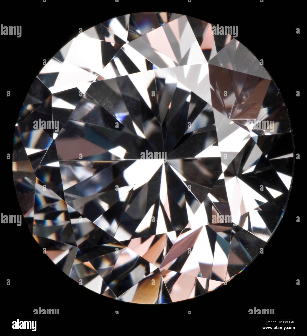 Round cut Diamond (Synthetic Cubic-Zirconia) - Stock Image