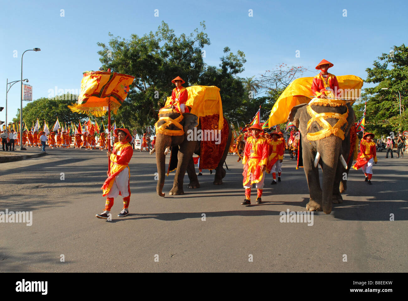 Imperial ceremony with elephants  in the city of Hue in front of Saigon Morin Hotel - Stock Image