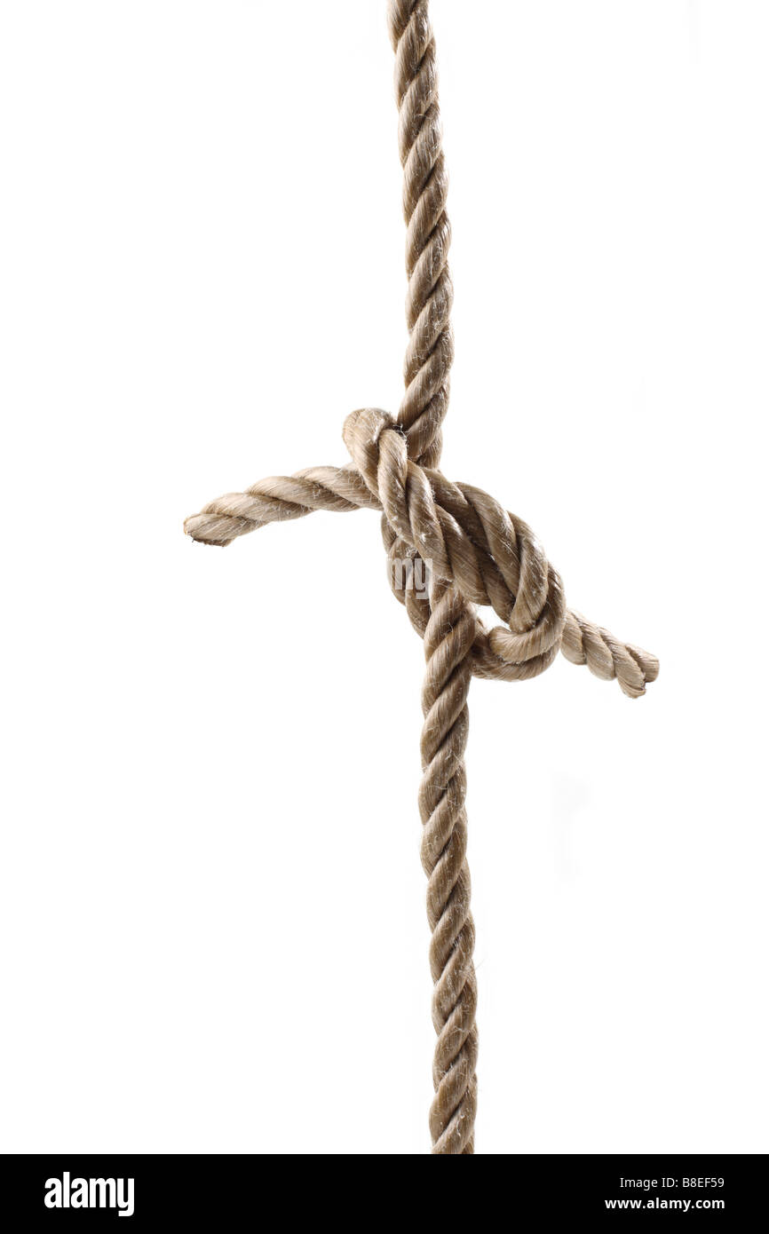 Two ropes tied together in a knot - Stock Image