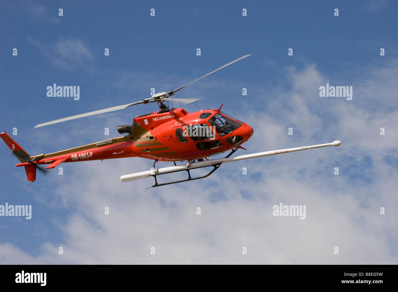 helicopter aerial work survey mining AS350 astar eurocopter - Stock Image