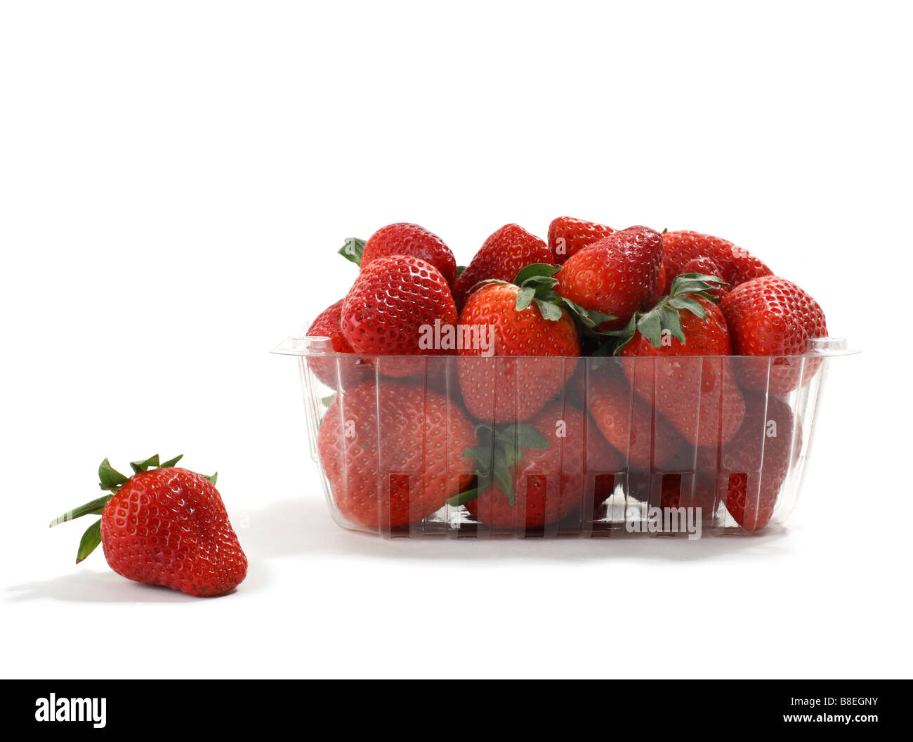 Clear Plastic Basket of Organic Strawberries one in foreground - Stock Image