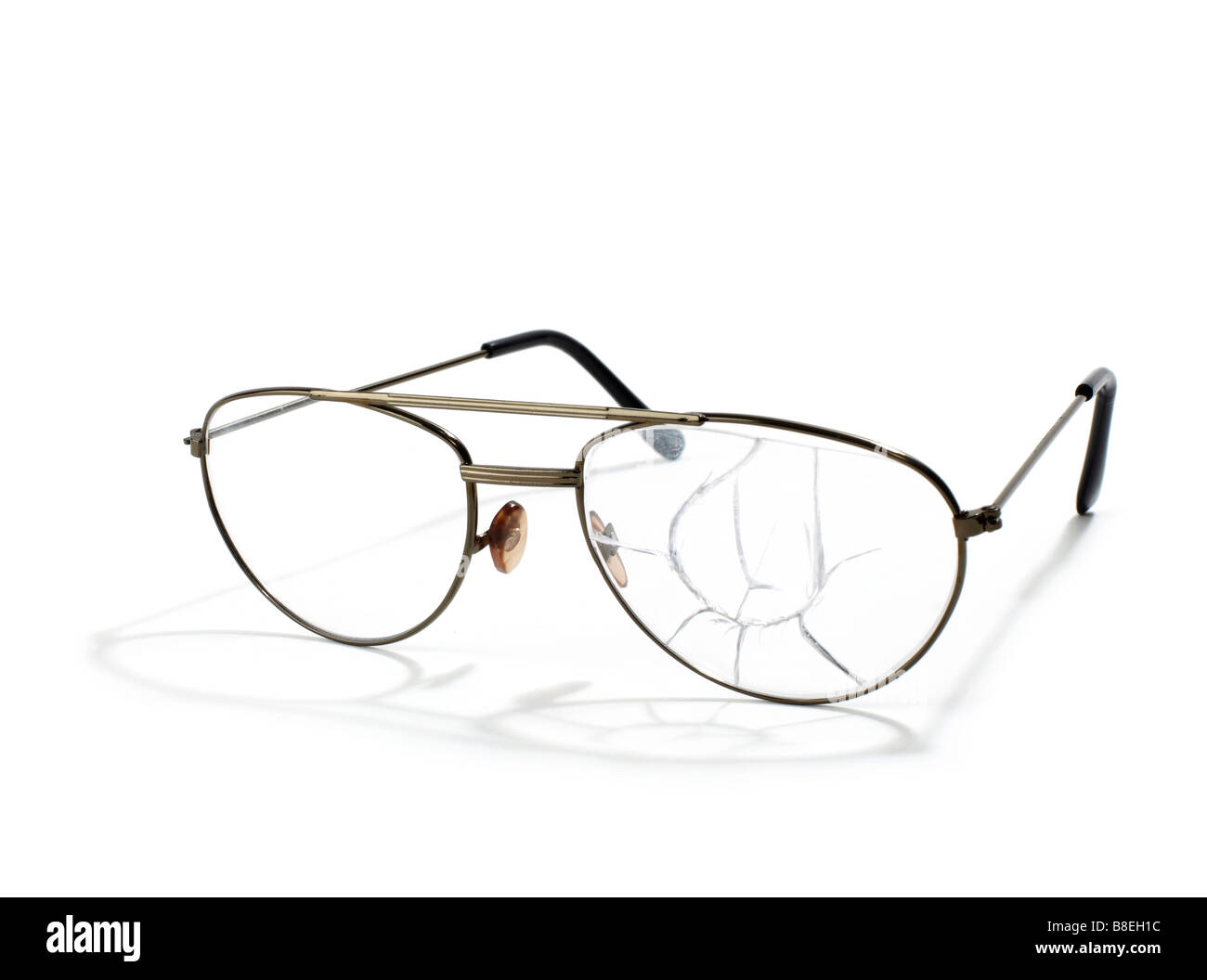 Broken wire frame  eyeglasses - Stock Image