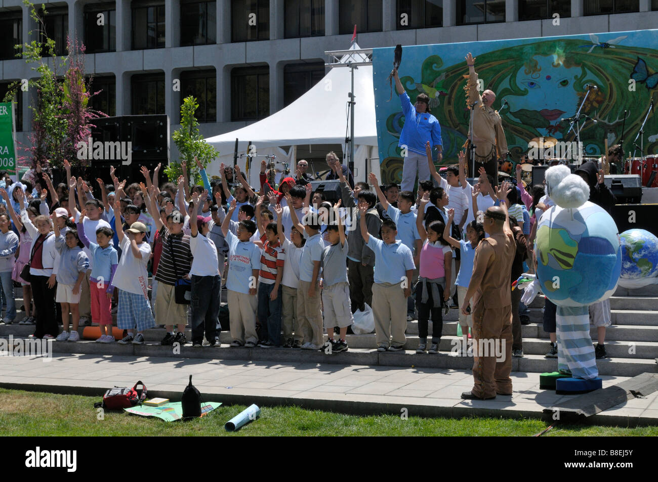 children perform fun happy stage earth day los angeles - Stock Image