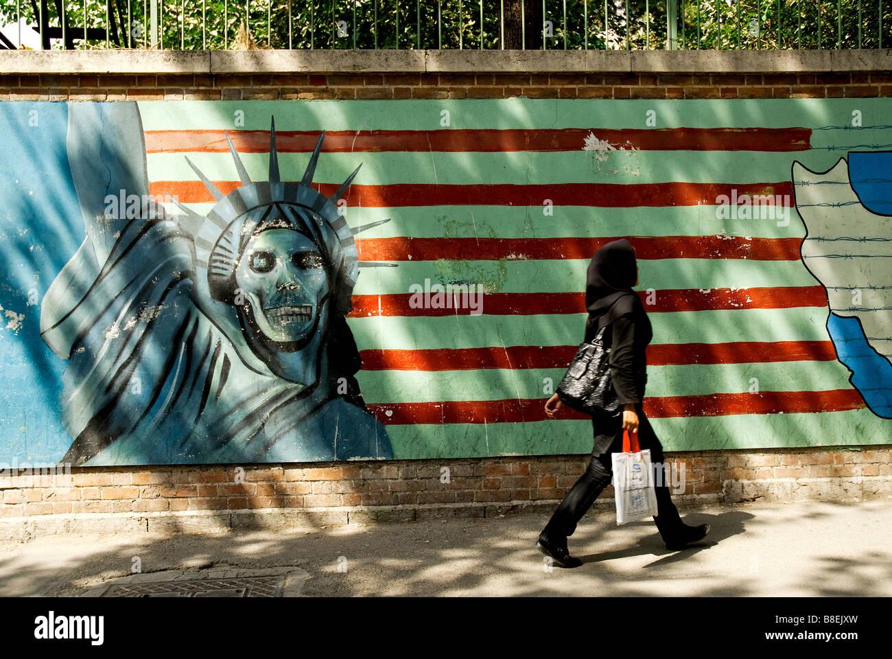 tehran extremist propaganda outside old american embassy teheran iran revolution jihad - Stock Image