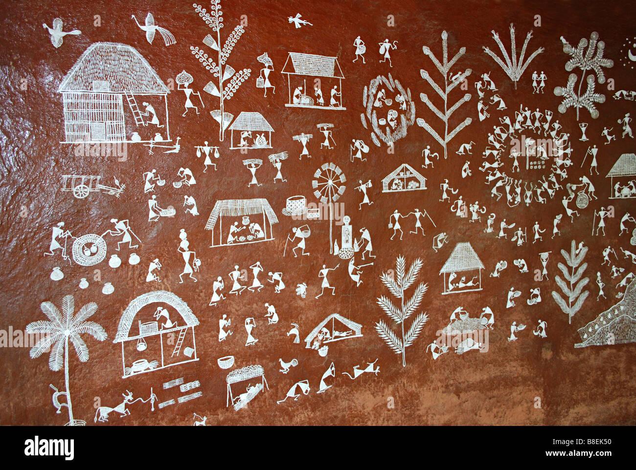 Warli Painting at Manav Sangrahalaya, Bhopal, Madhya Pradesh, India. - Stock Image